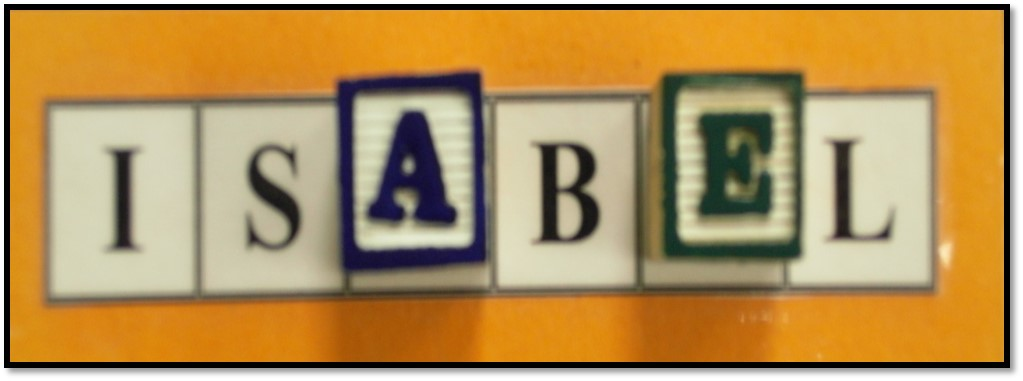 Alphabet Blocks used with Name Cards are Meaningful to Preschoolers